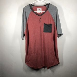 On the Byas red and gray tee size xl